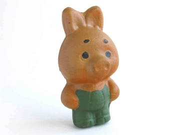 Piglet, Squeak toy, Little pig, Soviet rubber vintage toy, Cute Old Russian Toy, Doll, Nursery Decor, Made in USSR, 1960s