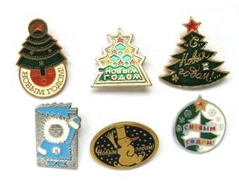 Happy New Year, Vintage Soviet badge, Xmas tree, Santa Claus, Christmas tree, Pick from Set, Soviet Vintage Pin, Made in USSR
