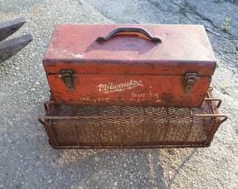 Rusty crusty milwaukee red toolbox  steampunk rustic