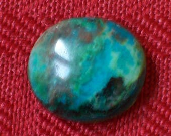 Polished Chrysocolla Oval Cabochon -- 14.5 mm x 17 mm