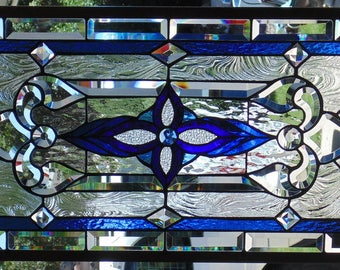 Stained Glass Window Hanging 34 1/2 X 17