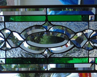 Stained Glass Window Hanging 24 3/4 X 8 1/2