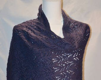 Lace Shawl Scarf, Blue Hand Knit Wrap, Lace Wrap, Valentines Day Gift Idea