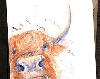 Highland Cow Gift Card, Highland cow Birthday Card, Highland Cattle,