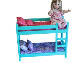 "American Girl teal bunk bed, Teal AG bed, AG doll Furniture, 18 inch doll furniture, 18"" teal doll bunk bed, 18 inch doll bed, 18"" bunk bed"
