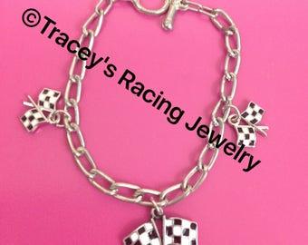 silvertone checkered flag charm bracelet Traceys Racing Jewelry