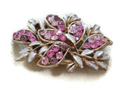1950s Pink Rhinestone Brooch  Vintage Enamel brooch  Floral and Leaf brooch  Large brooch