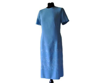 Original Vintage 1950's Blue Dress // Embroidered Blue Linen Shift/Wiggle Dress // UK 14 US 10 M