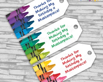Instant Download -Crayon / Rainbow Birthday FAVOR TAGS