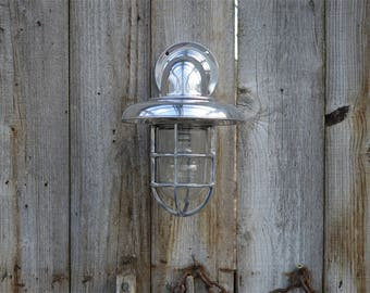 Polished metal ocean liner deck canopy light marine nautical ship wall light