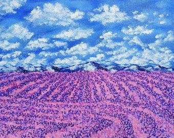 "Rows of Lavender In Provence (original acrylic painting) 8"" x 10"" by Mike Kraus"
