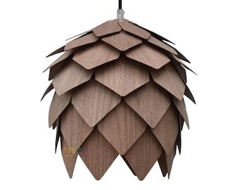 Wood Hanging pendant Lighting,Walnut pine cone pendant lamp,a beautiful pendant for dining room, Ceiling Lighting, Hanging Light, fixtures