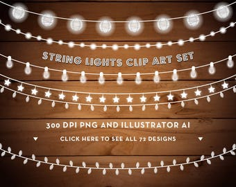 String Lights Clipart - Christmas Lights - Fairy Lights Clipart - Party Lights Clipart - Rustic Clipart - Clip Art - Instant Download