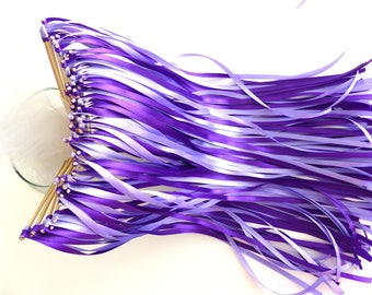20 baguette guard of honor wedding purple ribbons