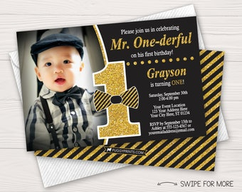 Mr. ONEderful Birthday Invitation | Mr. ONE-derful First Birthday Invitations | Black and Gold 1st Birthday | Personalized and Printable