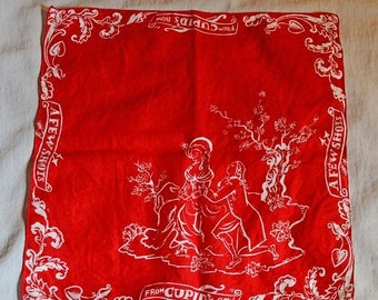 ON SALE: Vintage Handkerchief - Valentine's Day, Courting Couple, 'A Few Shots From Cupid's Bow', Red and White