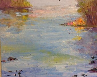 River painting, water painting, landscape painting, Lake art