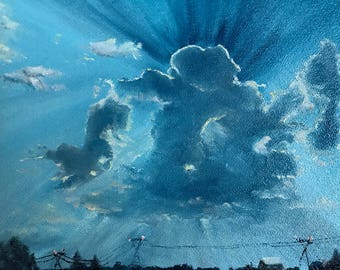 Dawn Painting, New Day Art, Landscape Painting, Vacation Painting,  Cloud painting