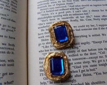 50s Sapphire Blue Rhinestone and Gold Clip On Earrings