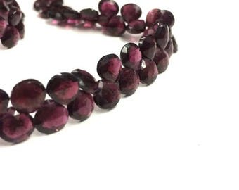 "AAA Quality Red Garnet faceted heart shape beads 8""inch strand, Garnet Briolettes 6-7mm"