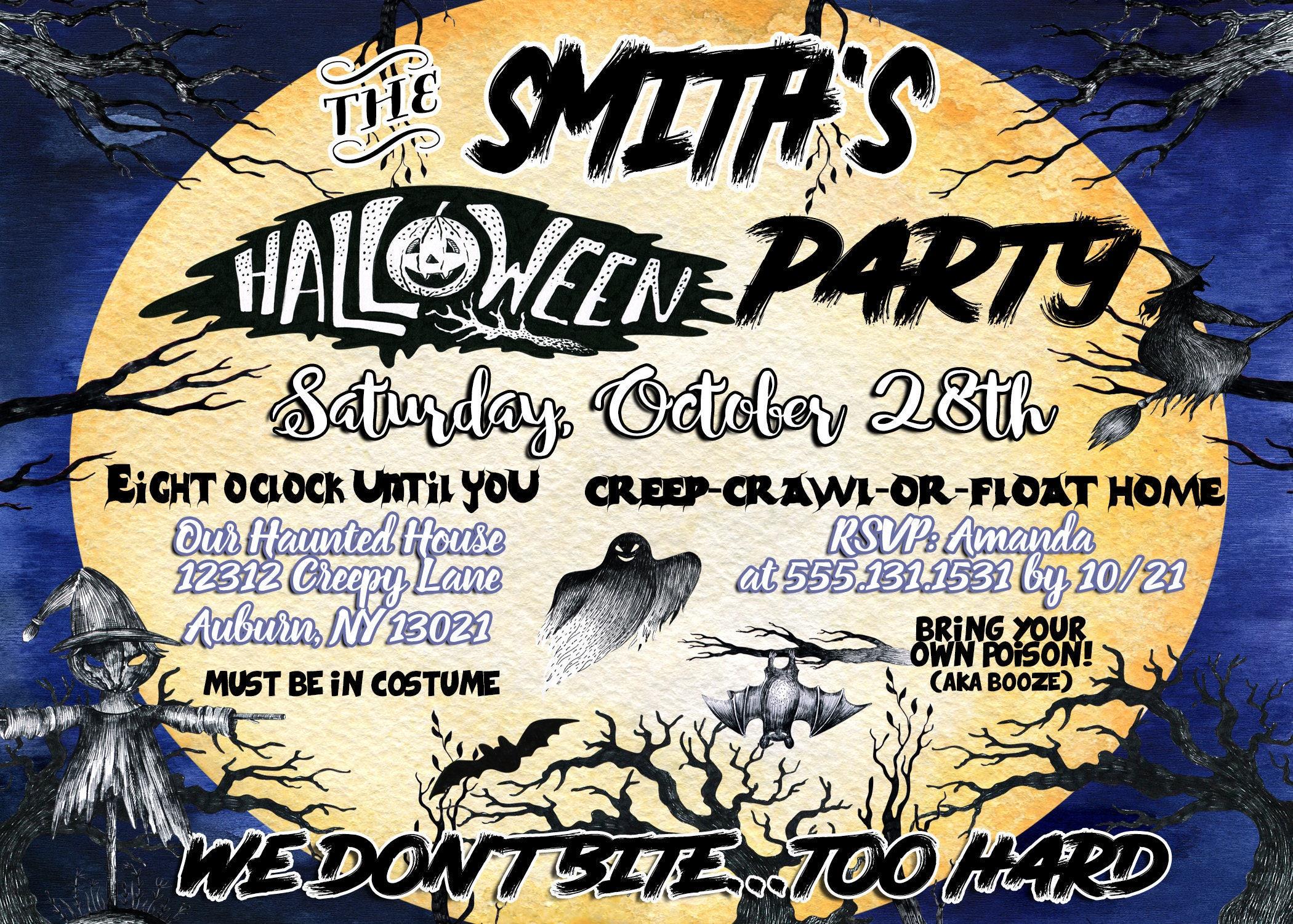 Scary halloween party invites, freaky halloween invitations, horror ...