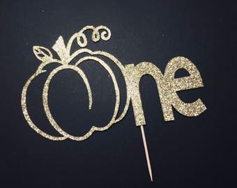 Pumpkin 1st birthday cake topper/ Little pumpkin glitter cake topper/ fall birthday/ fall smash cake topper