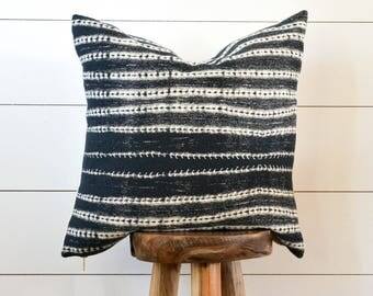 Organic Stripe Decorative Pillow, Tribal Pillow Cover, Navy Tribal Pillow