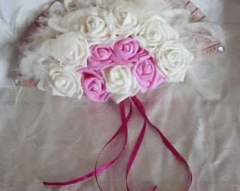 composition wall fan, roses, feathers and diamonds to be personalized