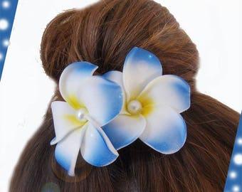Turquoise hair barrette clip double plumeria flower