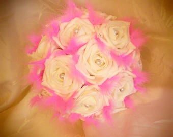 Bouquet of roses, feathers and beads choice of color