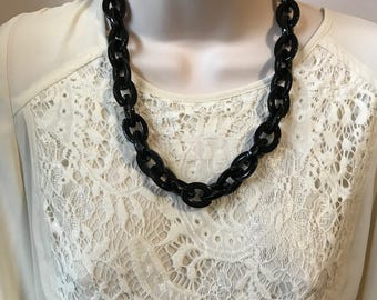 Black Chunky Chain Lucite Link Housewife Resin Statement Necklace Additional Colors Available