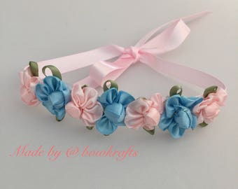 Light blue & pink flower hair bun wreath