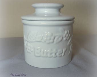 Butter Bell White Stoneware Beurre Dish French Crock Vintage