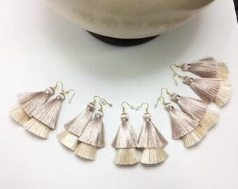 Christmas Gift Double Silky Tassel Earrings for Bridesmaid gift Boho Crochet earrings Gift for her