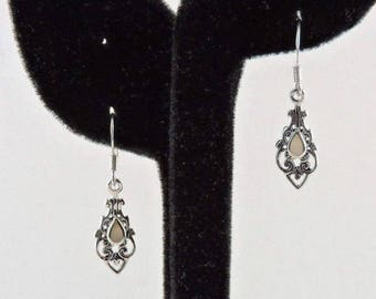 33% Off Christmas in July Sterling Silver And Mother Of Pearl Filigree Dangle Earrings