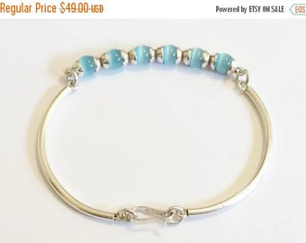 """33% Off Christmas in July Sterling Silver And Aqua Cats Eye Bracelet 7"""""""