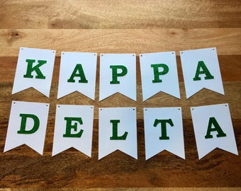 Kappa Delta Banner-  White with Green Glitter Letters