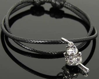 ON SALE NOW Men's Women Adjustable Braided Bracelet 925 Sterling Silver Lucky Maneki Neko Cat Pendant DiyNotion Handmade Br1125