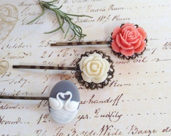 Grey Swan And Ivory And Peach Rose Hair Clips