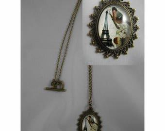 Col056 - Necklace / bronze necklace and cabochon Eiffel Tower / Paris / France