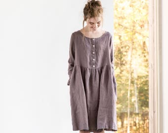 Linen loose MAMA dress with long sleeves and front buttons / Washed and soft linen maternity dress in caffe mocha/purple