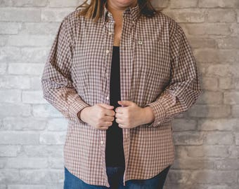 Large red and white plaid button up