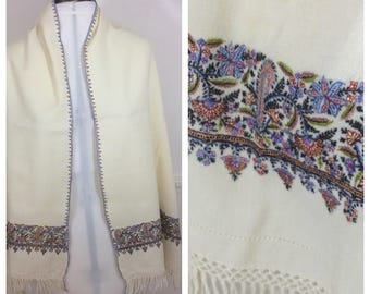 Vintage Wrap Shawl Shrug Cream Wool Hand Worked And Fine Embroidered c 1930-40s