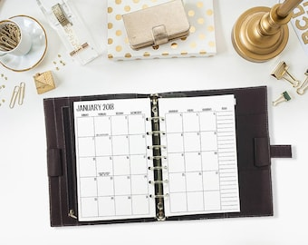 Half size 2018 Monthly printed planner calendar - Mo2P - month on 2 page - monthly calendar