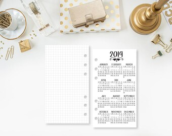 Personal 2019 Year at Glance Personal Wide printed planner insert - year in review - yearly planner insert