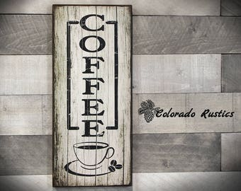 """Coffee Sign, Rustic Kitchen Sign, Kitchen Wall Decor, Coffee Decor, Rustic Wall Decor, Rustic Kitchen Wall Art, Kitchen Signs, 8"""" x 18"""""""