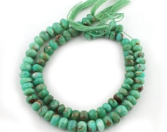 Valentines Day 2 Strands Chrysoprase Faceted Rondelles - Chrysoprase Roundles Beads 8mm-10mm 10 Inches long SB2128