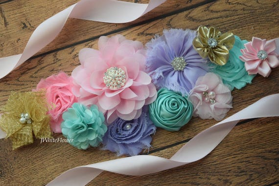 Maternity sash belt, aqua violet gold pink Sash, sash,  flower Belt, maternity sash, baby shower gift