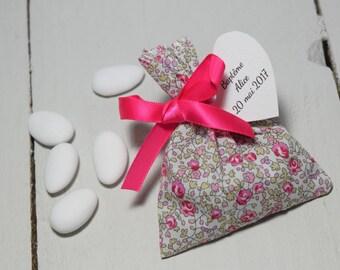 Ballotin dragées liberty pink ribbon fuchsia / Bag dragées baptism wedding communion