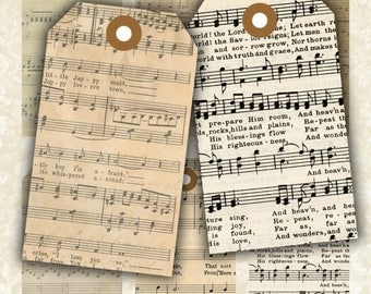 SALE 60% Vintage Sheet Music -  Digital Collage Sheet Printable Download Images Jewelry Holders Gift Tags Paper Scrapbook